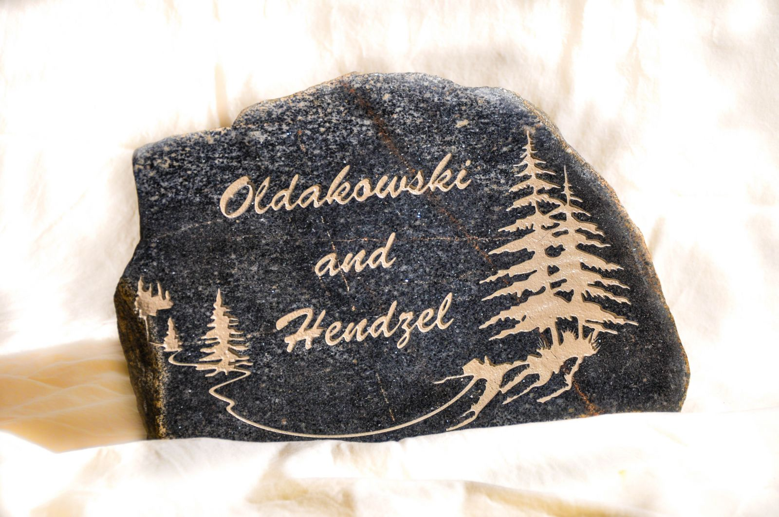 Sandblast etched stone