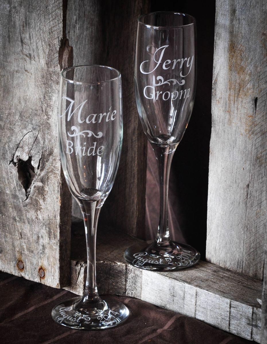 Sandblast etched wedding champagne flutes