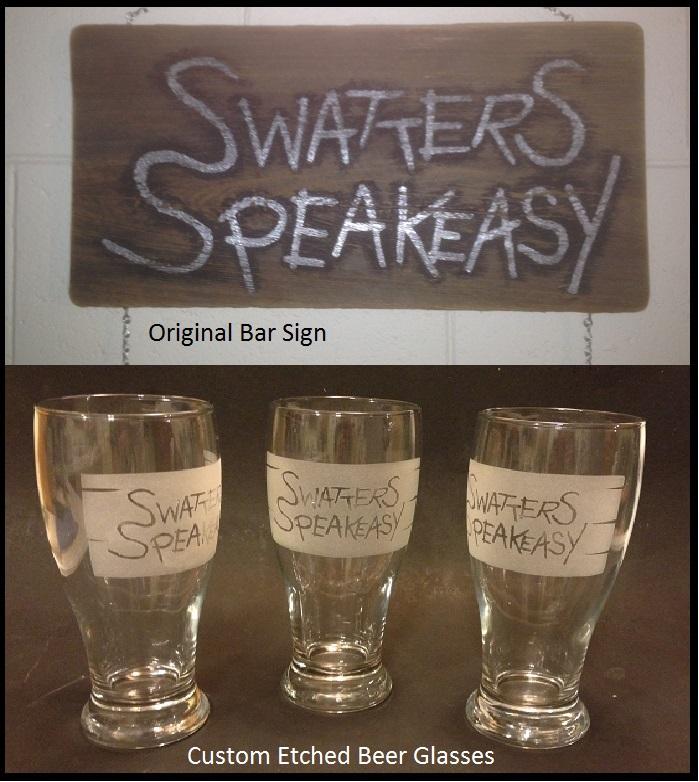 Custom etched bar glass set. Designed from original bar sign.