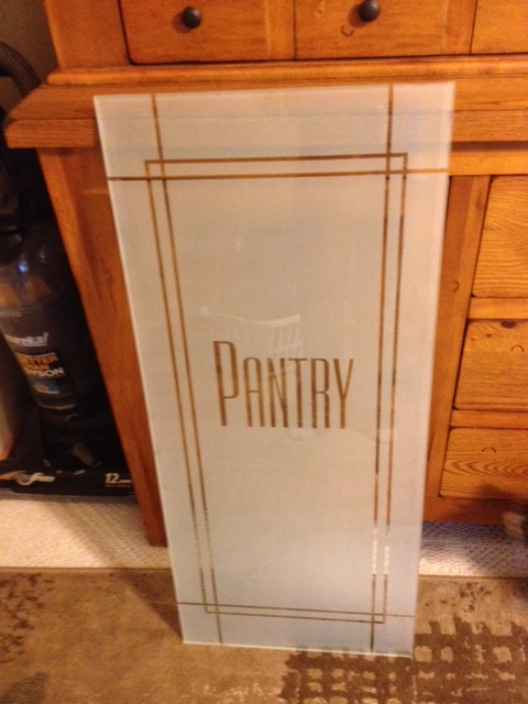 Sandblast etched glass pantry door