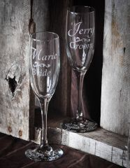 Sandblast etched wedding champagne flutes