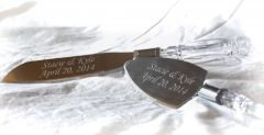 Sandblast engraved wedding cake serving set.