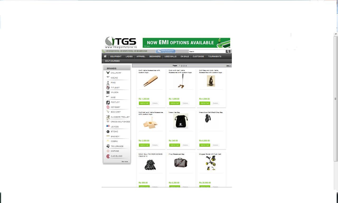Online golf shop