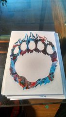Printed and cut decal Bear paw to Texas